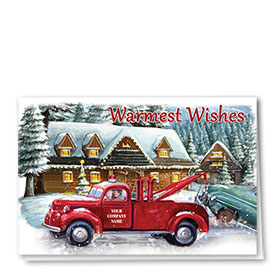 Double Personalized Full-Color Automotive Holiday Cards - Wishes In Tow