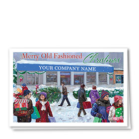 Double Personalized Full-Color Automotive Holiday Cards - Christmas Scene