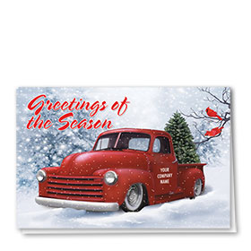 Double Personalized Full-Color Automotive Holiday Cards - Cardinal Classic