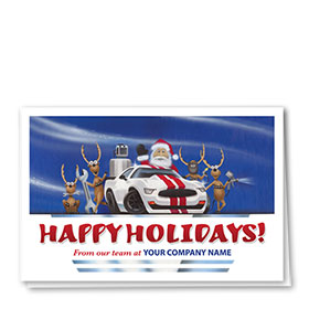Double Personalized Full-Color Automotive Holiday Cards - Holiday Customs