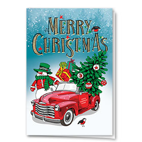 Double Personalized Full-Color Automotive Holiday Cards - Christmas Snowman