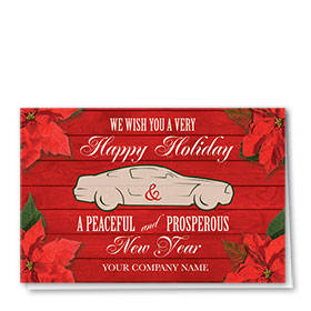 Double Personalized Full-Color Automotive Holiday Cards - Prosperous Poinsettia