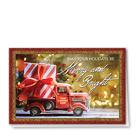 Double Personalized Full Color Holiday Card- Striped Present