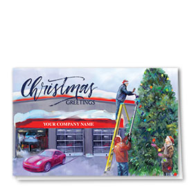 Double Personalized Full Color Holiday Card- Christmas Preparation