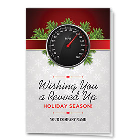 Double Personalized Full Color Holiday Card- Ribbon Odometer