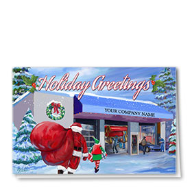 Double Personalized Full Color Holiday Card- Sleigh Tune-up