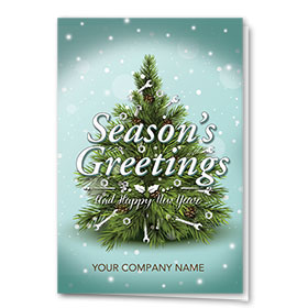 Double Personalized Full Color Holiday Card- Tiny Spruce