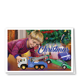 Double Personalized Full Color Holiday Card- Towing Gift