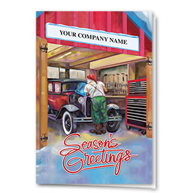Double Personalized Full Color Holiday Card- Santa's Repair
