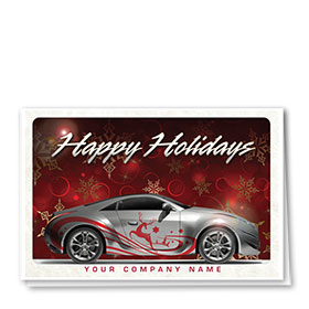 Double Personalized Full Color Holiday Card- Reindeer Pinstripe