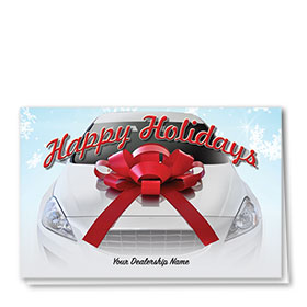 Double Personalized Full Color Holiday Card- Dealership Wishes