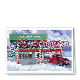 Double Personalized Full Color Holiday Card- Christmas Station