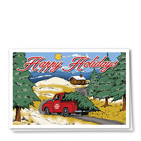 Double Personalized Full Color Holiday Card- Homeward Bound