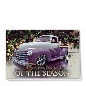 Double Personalized Full Color Holiday Card- Purple Pine