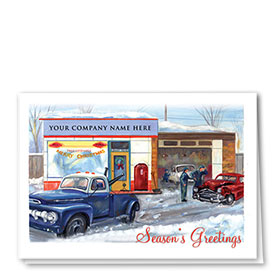 Double Personalized Full-Color Automotive Holiday Cards - Nostalgic Collision Shop