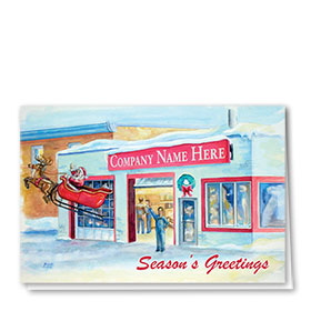 Double Personalized Full-Color Automotive Holiday Cards - Santa's Send-Off
