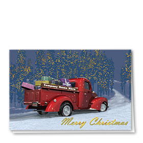 Double Personalized Full-Color Automotive Holiday Cards - Christmas Delivery