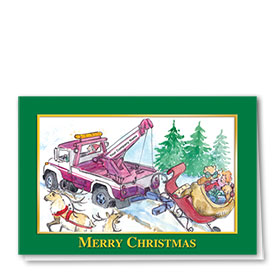 Double Personalized Full-Color Automotive Holiday Cards - Sleigh Towing