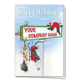 Double Personalized Full-Color Automotive Holiday Cards - Collision Course