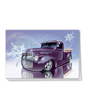 Double Personalized Full-Color Automotive Holiday Cards - Snowflake Reflections