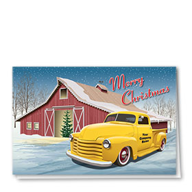 Double Personalized Full Color Holiday Card-Grandpa's Barn
