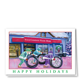 Double Personalized Full-Color Automotive Holiday Cards - Elf Garage