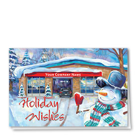 Double Personalized Full-Color Automotive Holiday Cards - Snowman Welcome