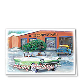 Double Personalized Full-Color Automotive Holiday Cards - Christmas Memory