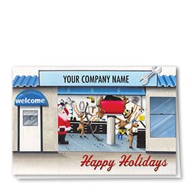 Double Personalized Full-Color Automotive Holiday Cards - Holiday Quicklane