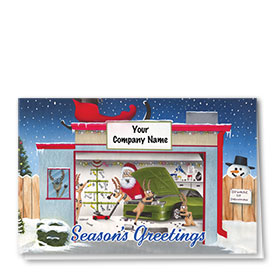 Double Personalized Full Color Holiday Card- Beware of Snowman