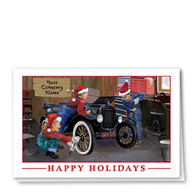 Double Personalized Full Color Holiday Card- Christmas Clubhouse