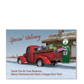 Personalized Full-Color Automotive Holiday Postcards - Special Delivery II