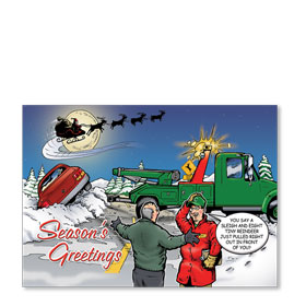 Personalized Full-Color Automotive Holiday Postcards - Christmas Eve Crash