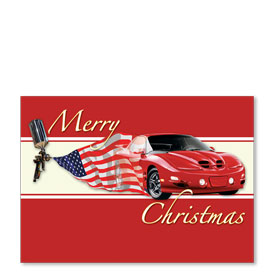 Personalized Full-Color Automotive Holiday Postcards - American Pride