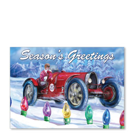 Personalized Full-Color Automotive Holiday Postcards - Lighted Raceway