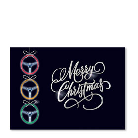 Personalized Full Color Holiday Postcard - Steering Ornaments
