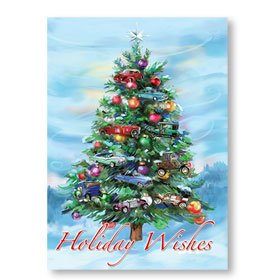Personalized Full-Color Automotive Holiday Postcards - Mystical Evergreen