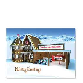 Double Personalized Full Color Holiday Postcard - Gingerbread Shop