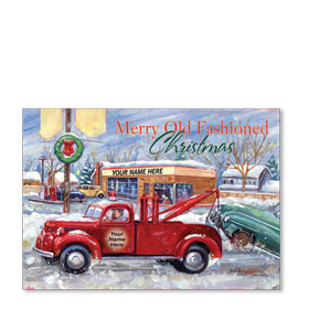 Double Personalized Full Color Holiday Postcard - Nostalgic Garage