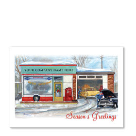 Double Personalized Full-Color Automotive Holiday Postcards - Nostalgic Repair Shop