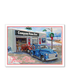 Double Personalized Full-Color Automotive Holiday Postcards - Old Fashioned Service