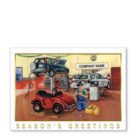 Double Personalized Full-Color Automotive Holiday Postcards - Tiny Tune-Up