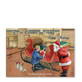Double Personalized Full-Color Automotive Holiday Postcards - St. Nicks Sled