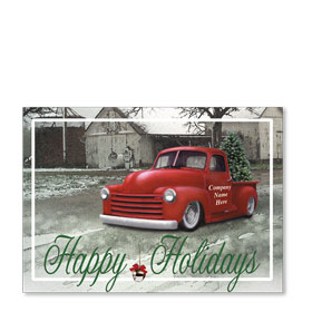 Double Personalized Full-Color Automotive Holiday Postcards - Classic Pick-Up