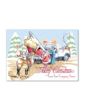 Double Personalized Full Color Holiday Postcard - Reindeer Wrecker