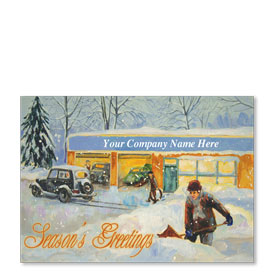 Double Personalized Full-Color Automotive Holiday Postcards - Nostalgic Greetings