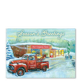 Double Personalized Full-Color Automotive Holiday Postcards - Christmas Gone By