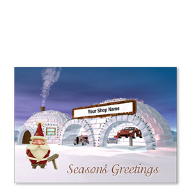 Double Personalized Full Color Holiday Postcard - Polar Automotive