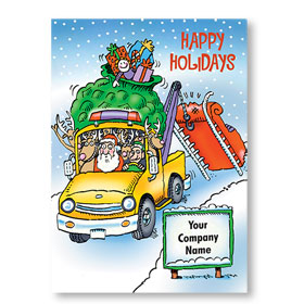 Double Personalized Full Color Holiday Postcard - Saving Santa