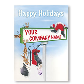 Double Personalized Full-Color Automotive Holiday Postcards - Collision Course